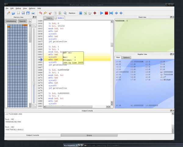 Screenshot of MipScope on Linux